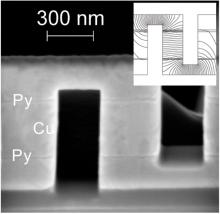 A device fabricated by 3-D focused ion beam milling used to measure the spin diffusion length of electrons in copper.